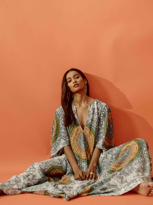 Printed Silk Caftan by Jaline $695