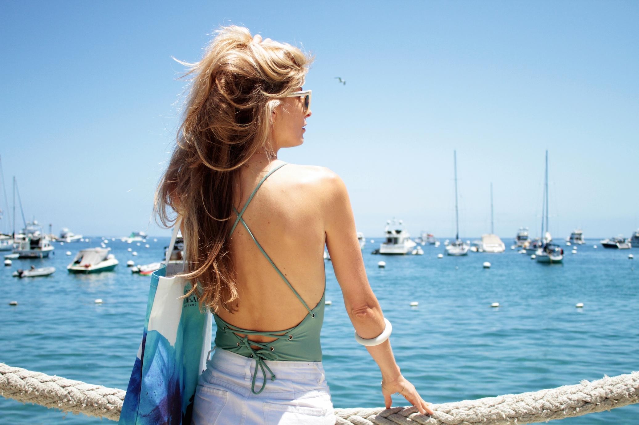 Tobi Swimsuit $50 &  La Mer Ocean's Fund Special Edition Tote