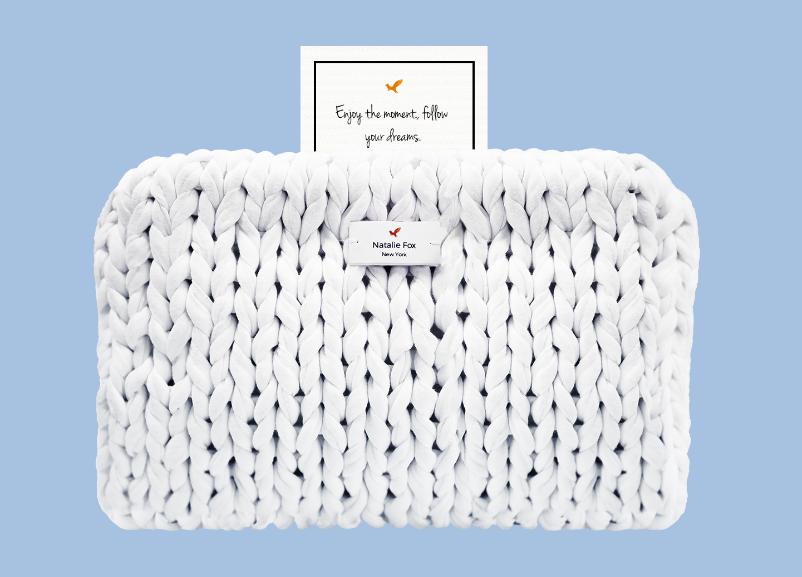 "Natalie Fox Knit Bag with Inspirational ""Secret"" $170"