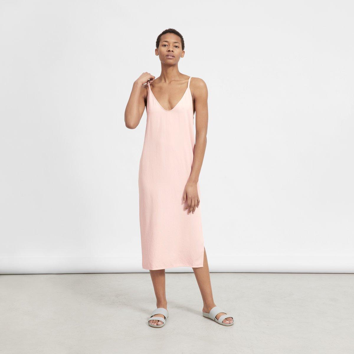 Everlane Japanese Go Weave Slip Dress in Rose $88