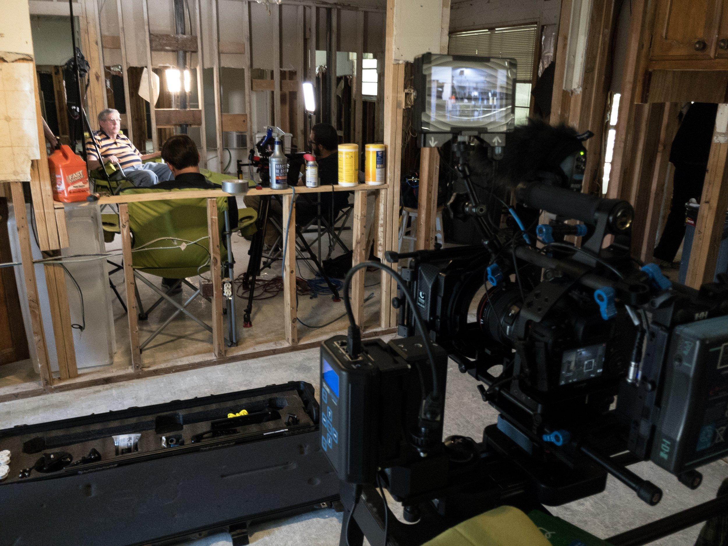 Filming Bill's interview