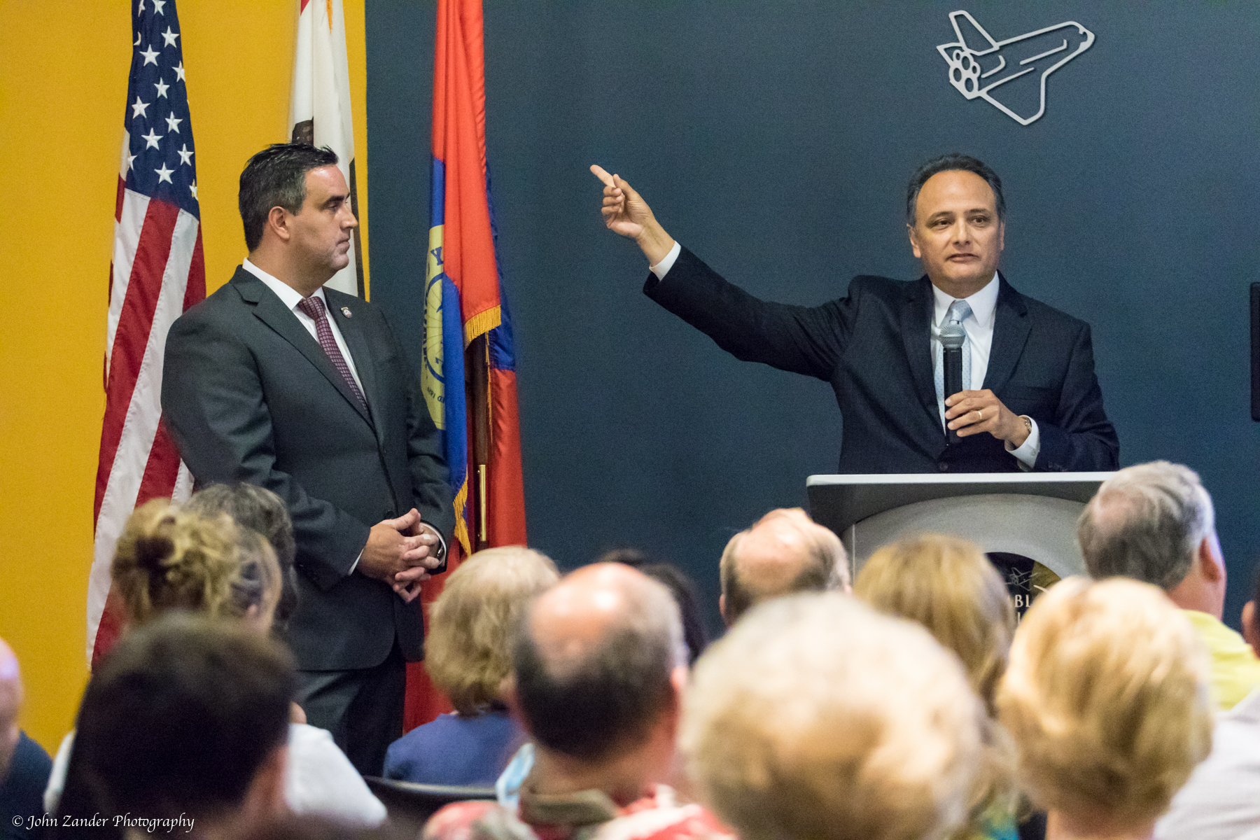 Mayor Pro Tem Alex Saab and city manager Gilbert Livas at Wednesday's town hall meeting, held at the Columbia Memorial Space Center. Photo by John Zander