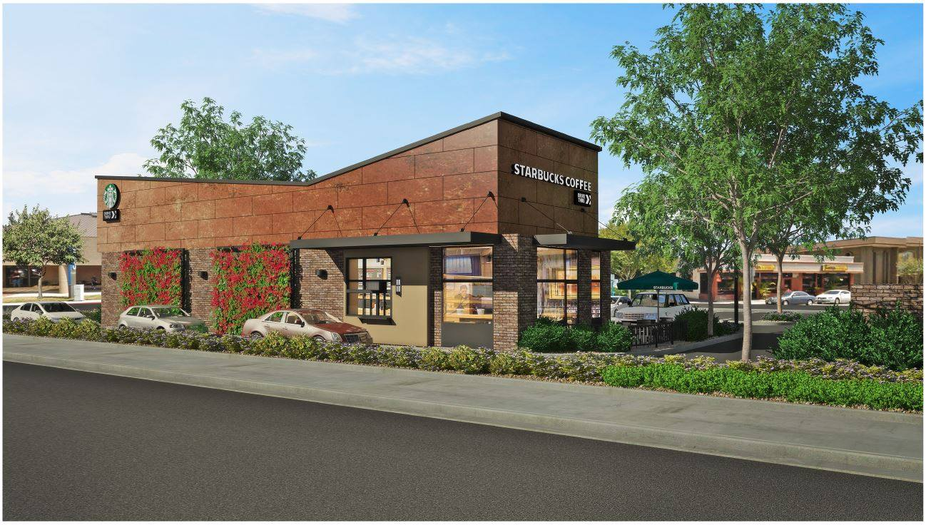 An artist's rendering of the new Starbucks that will replace a Walgreen's pharmacy at 7966 Florence Ave. Courtesy city of Downey