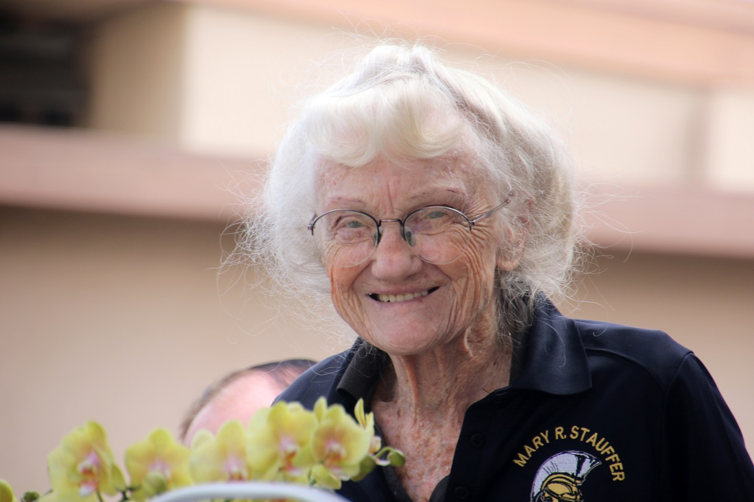 Dr. Mary Stauffer smiles at her 100th birthday party at Stauffer Middle School. Photo by Eric Pierce
