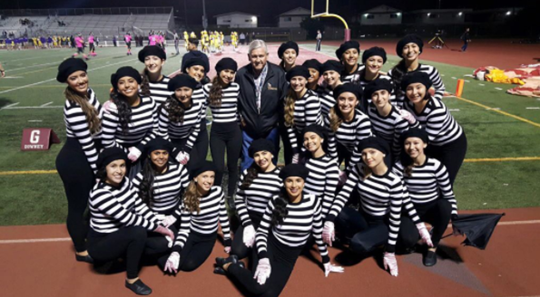 Downey High's dance team with former principal Allen Layne. Photo courtesy @downeyvikes