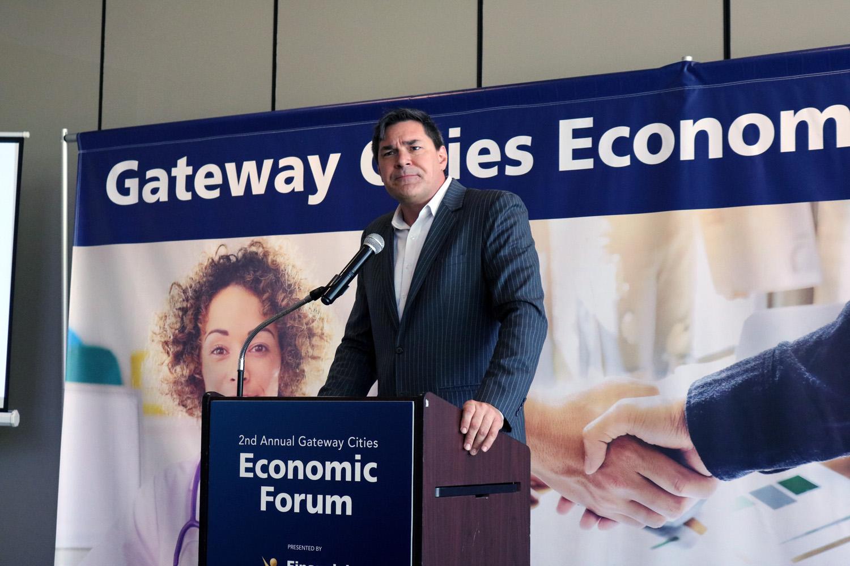 Christopher Thornberg, an economist, spoke at the Gateway Cities Economic Forum last week in Downey. Photo by Alex Dominguez