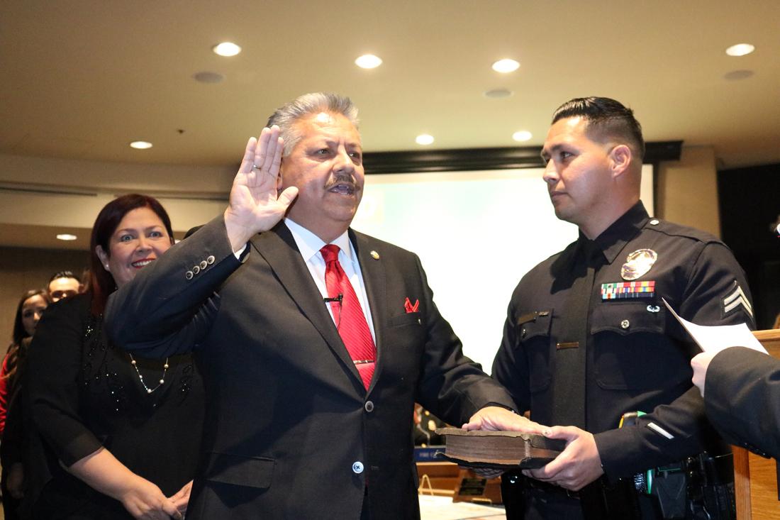 Rick Rodriguez sworn in. Photo by Alex Dominguez