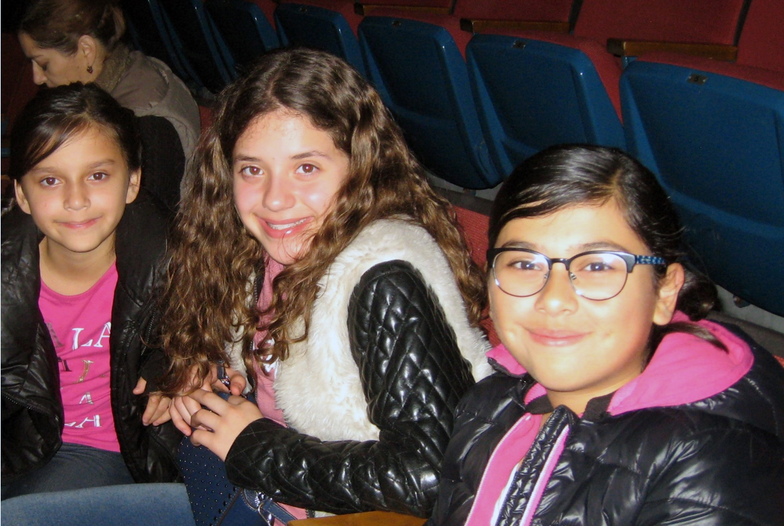 Middler schoolers Emma, Meghan and Jenna at Saturday's Downey Symphony concert. Photo by Lorine Parks