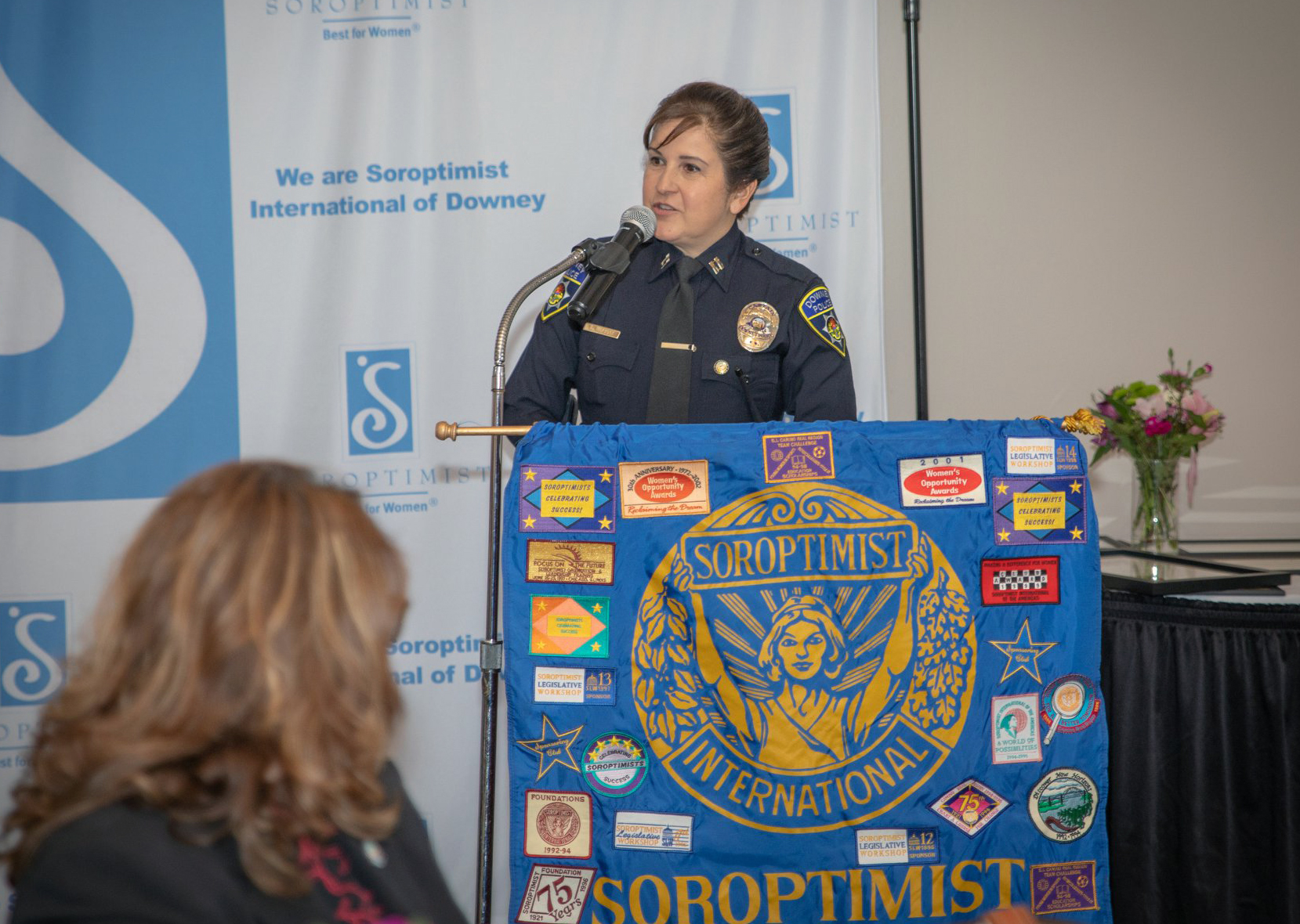 "PHOTO BY CLAUDIA GOMEZ   Leslie Murray accepts an award after being named a ""Woman of Distinction"" by Soroptimist International of Downey. Photo by Claudia Gomez"