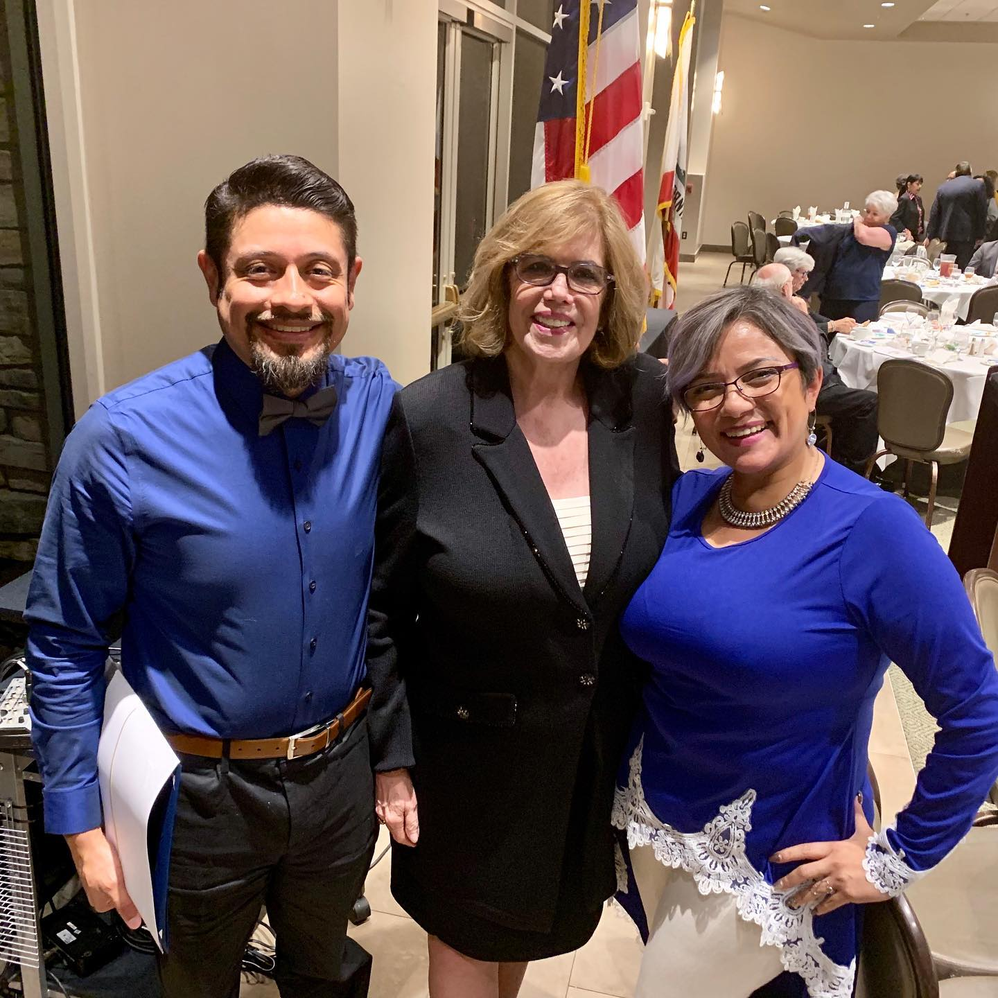 PHOTO BY JESUS TORRES   Moises Rios-Hernandez, Martha Sodetani and Cecilia Gonez at last week's Coordinating Council awards dinner.