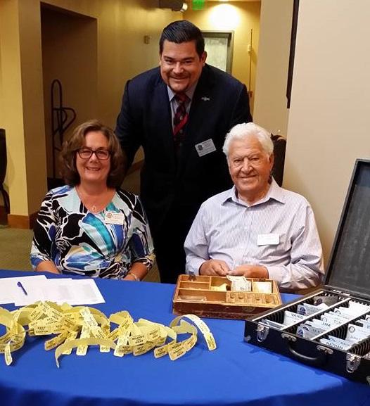 Barbara Lamberth, William Medina and Ralph Granata at a Rotary Club of Downey meeting.