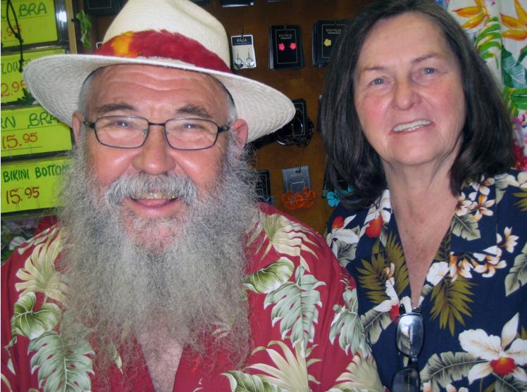 Martin and Barbara Orloff, proprietors of Exotical Hawaiian Apparel. Photo by Lorine Parks