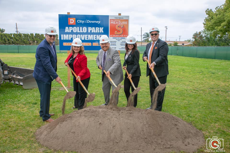 The Downey City Council at a groundbreaking celebration at Apollo Park. Photo by Claudia Gomez