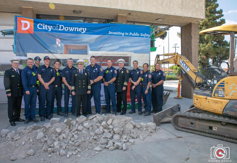 PHOTO BY CLAUDIA GOMEZ   Downey firefighters at a groundbreaking ceremony this week at Fire Station No. 3.