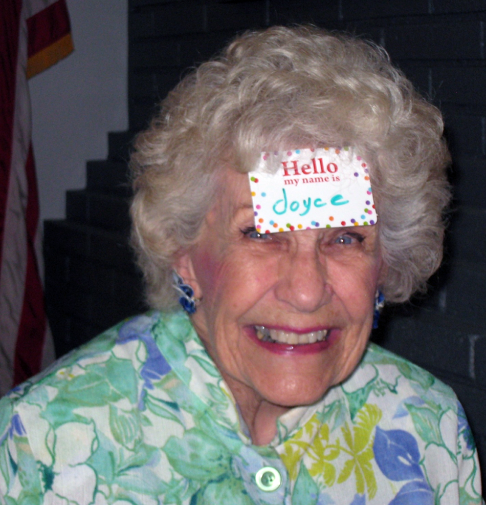 Joyce Sherwin with her name tag up front and visible. Photo by Lorine Parks
