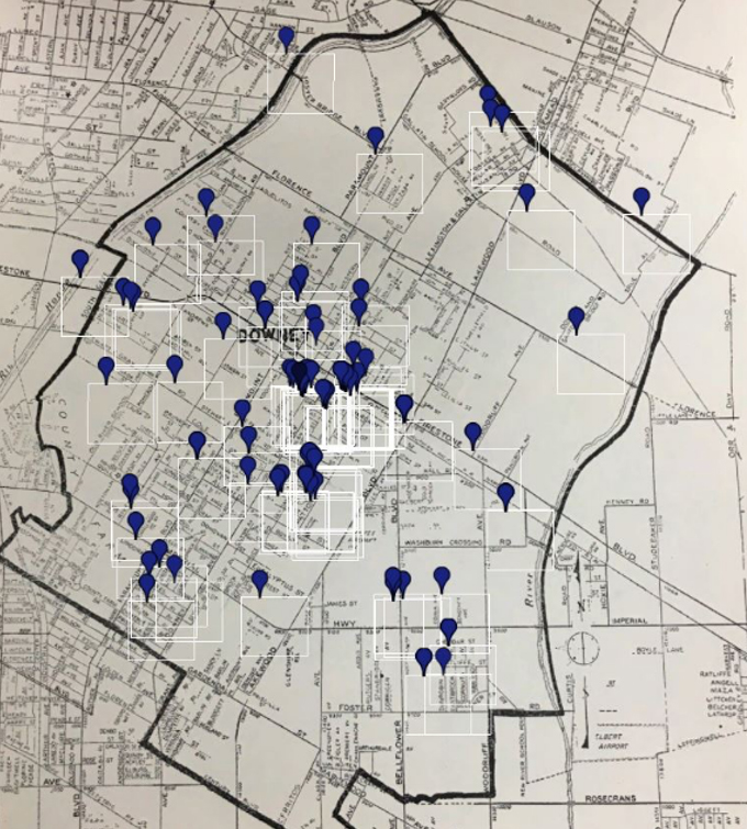 Mexican American population in Downey (in 1950), overlaid on a map from the same year. Note the concentration of markers in south and central Downey. Map image courtesy of the Downey Historical Society.