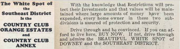 Real estate advertisement for Orange Estates neighborhood of Downey. Found in 1930 issues of Downey LiveWire. Courtesy of the Downey Historical Society.
