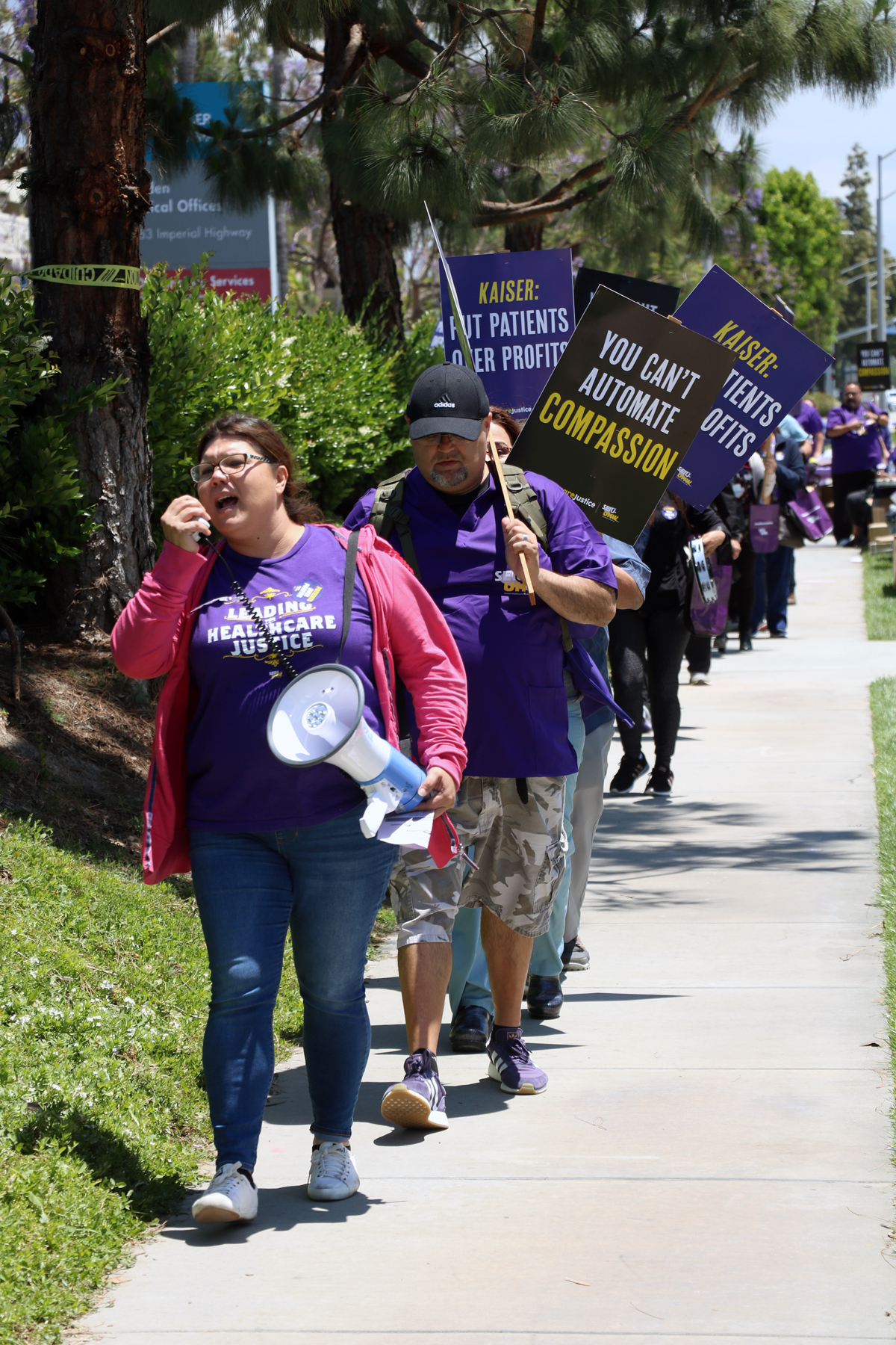 Kaiser Permanente workers protest outside the Downey campus in May 2019. Photo by Alex Dominguez
