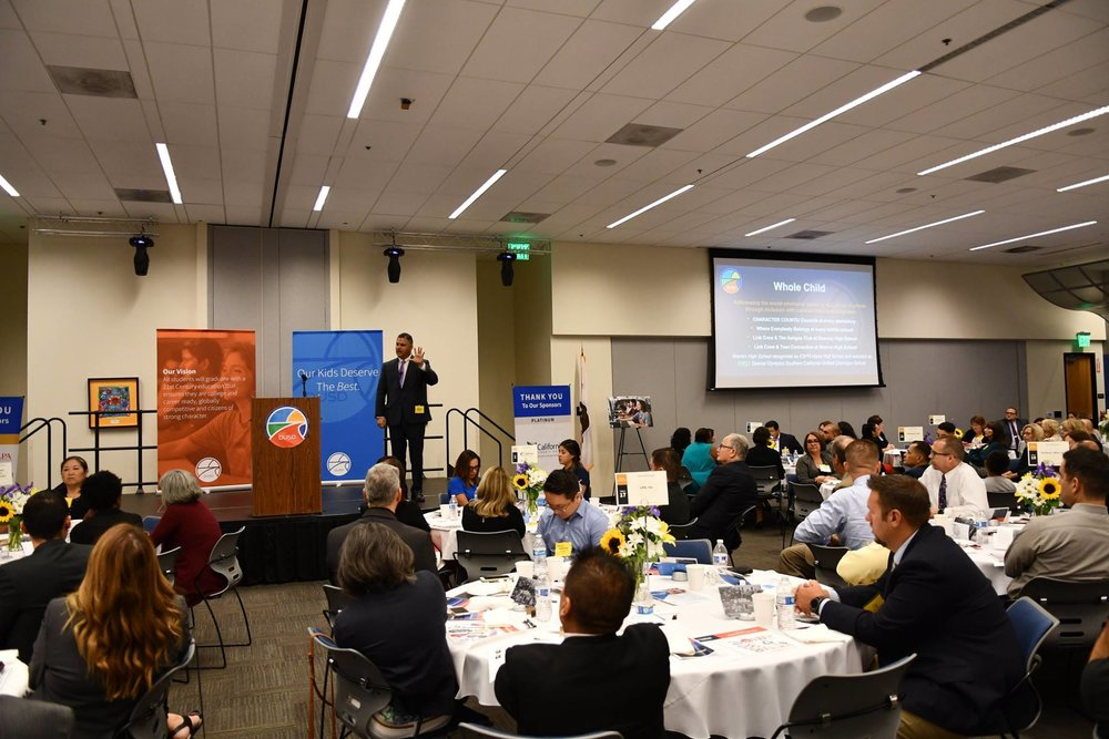 Downey Unified superintendent Dr. John Garcia at last year's State of the Schools. Photo courtesy Downey Unified