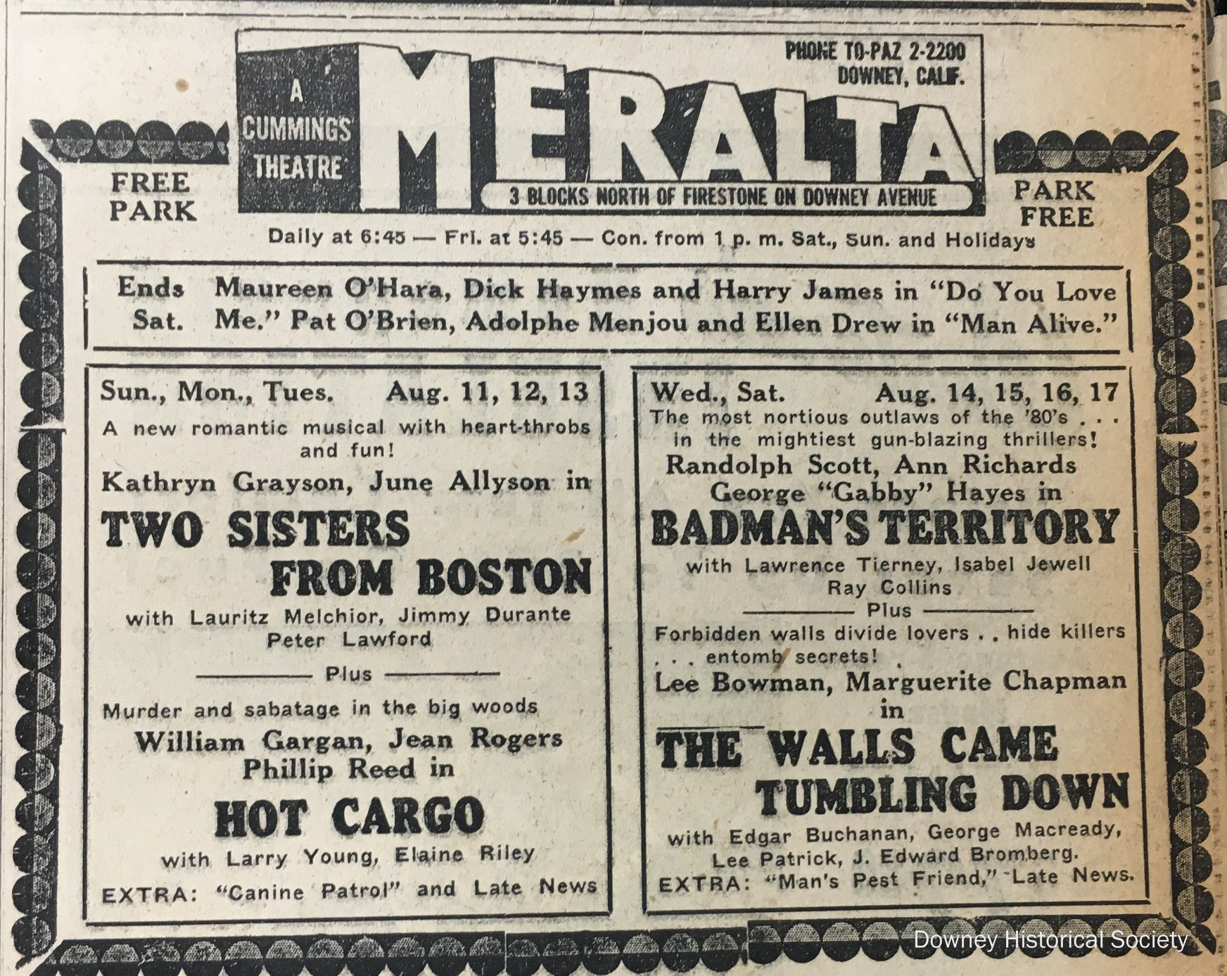 An advertisement for the Meralta Theatre that appeared in the Downey Live-Wire in 1946.