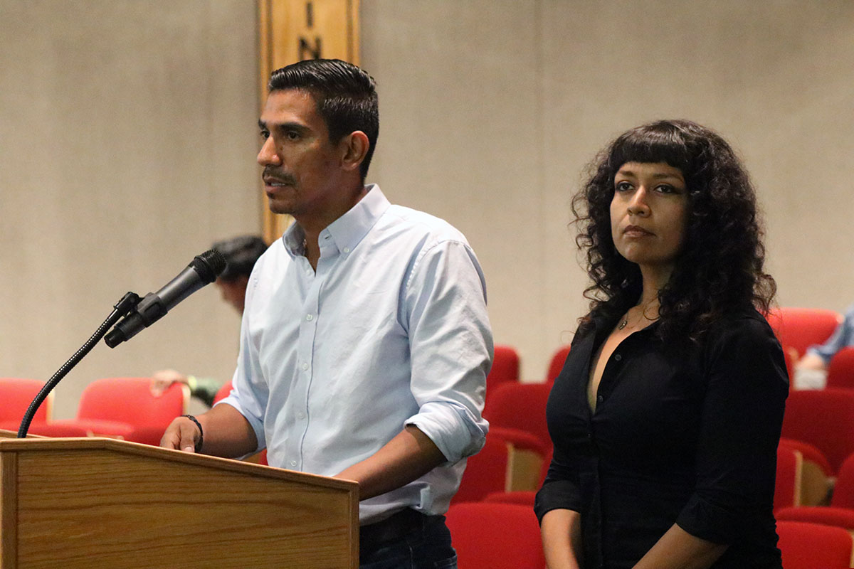 Tree People representatives speak at Tuesday's City Council meeting. Photo by Alex Dominguez