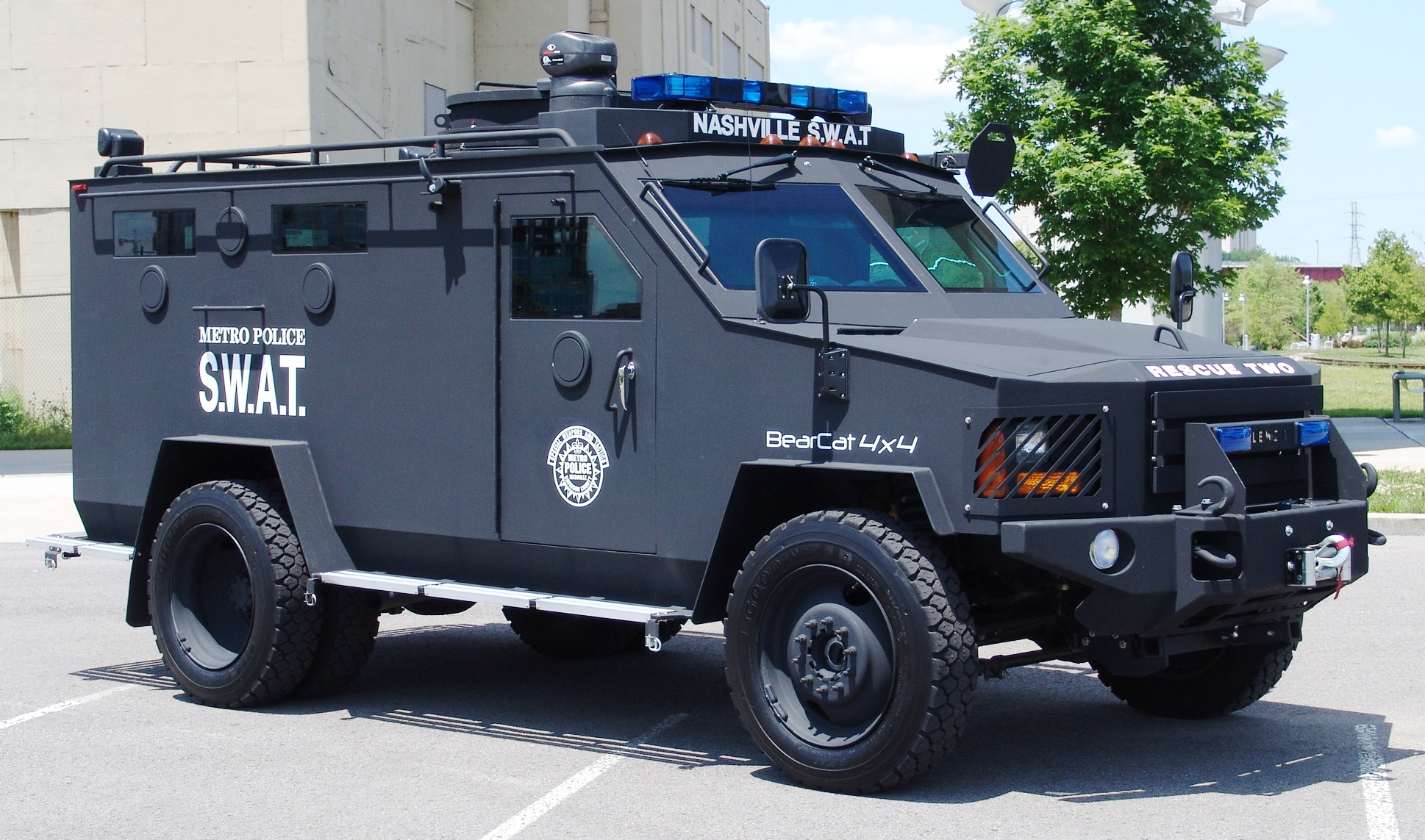 A BearCat armored vehicle used by the Nashville Police Department.