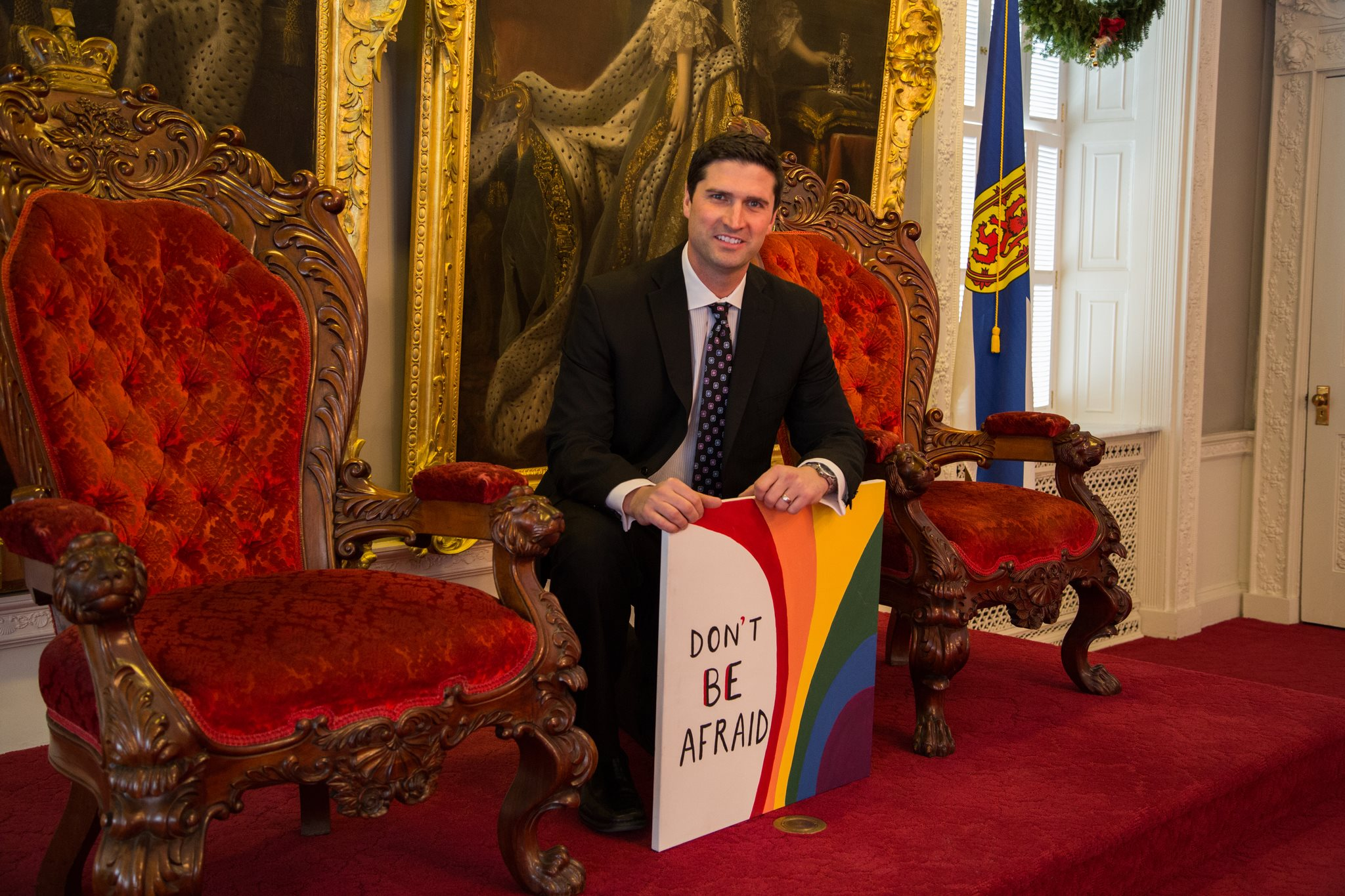 "Nova Scotia MLA Geoff MacLellan   ""All of us deserve peace, love and freedom. We can no longer back down from discrimination or intolerance. Homophobia is unacceptable. In 2014 let's work together to spread this important message. We can't be afraid and we won't be afraid. I am not afraid and neither are you. DON'T BE AFRAID! """