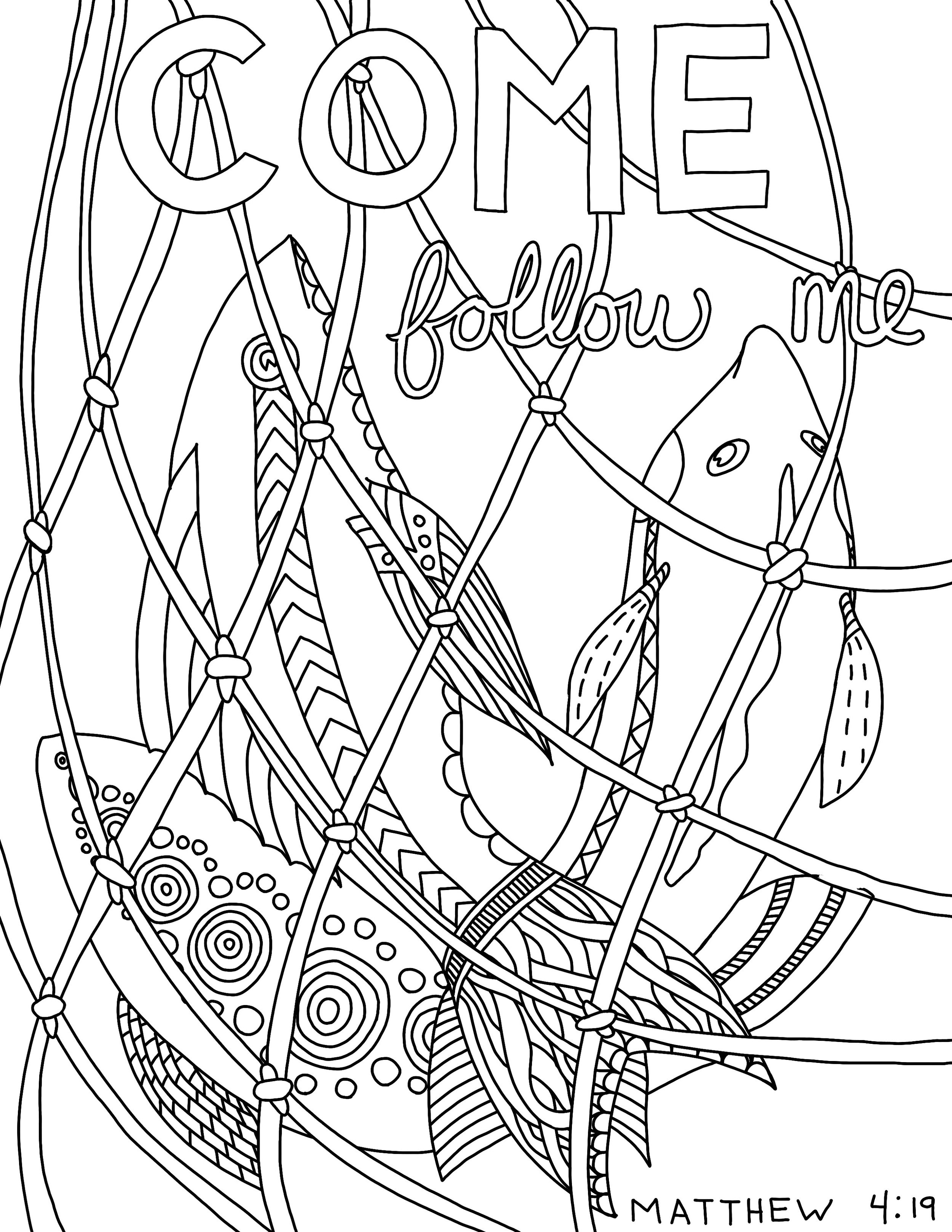 Fishers of Men - originally drawn for the kids at my church and part of the  Matthew  coloring pages.