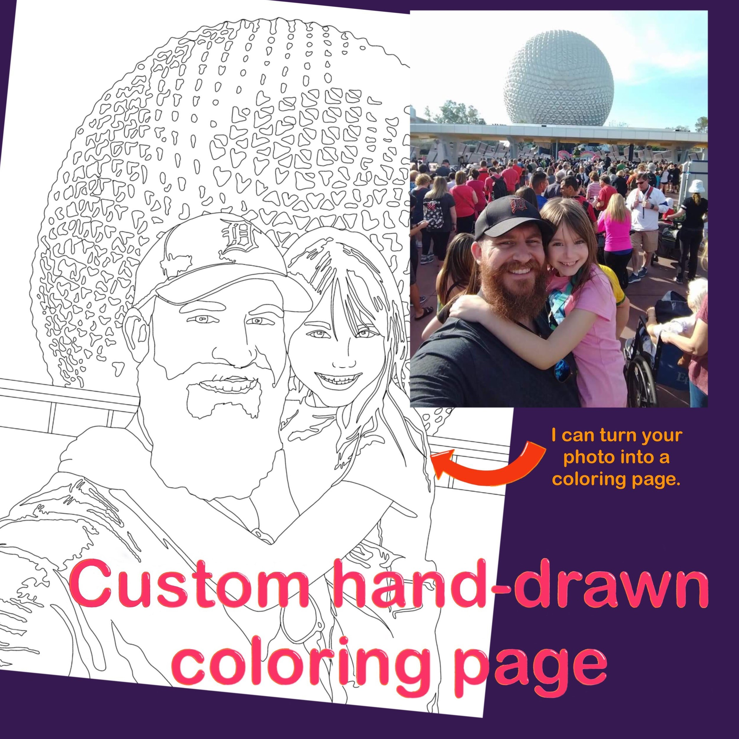 Custom hand-drawn  coloring pages available now!