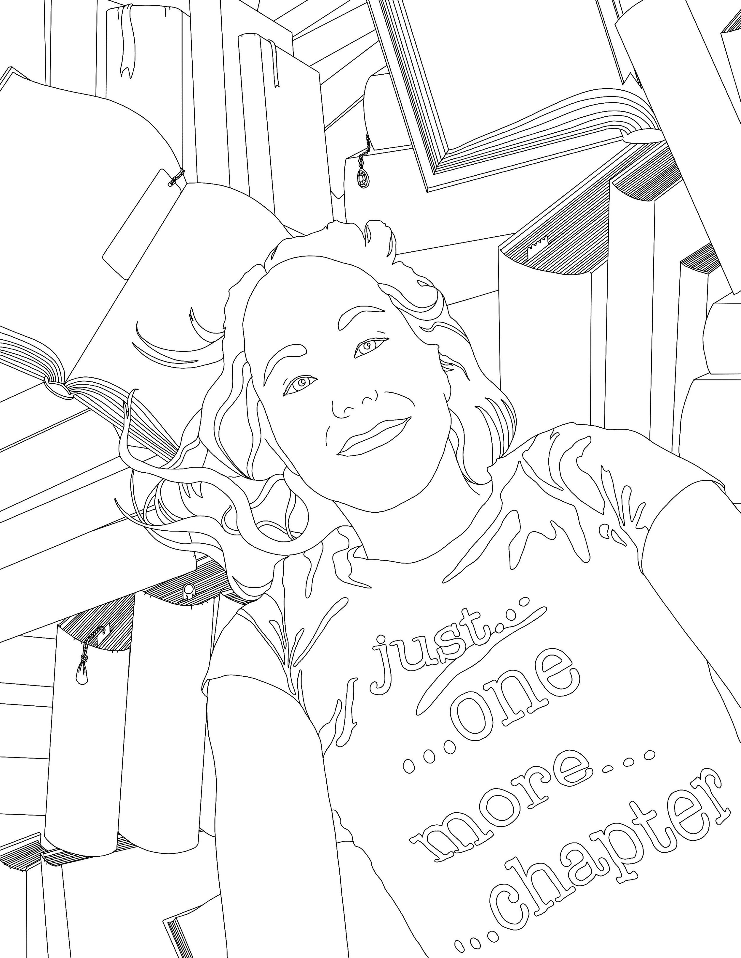 An example of a  C ustom coloring page. Simply send in a pic or two and/or choose a theme or phrase and I email you a completely custom, hand-drawn coloring page!