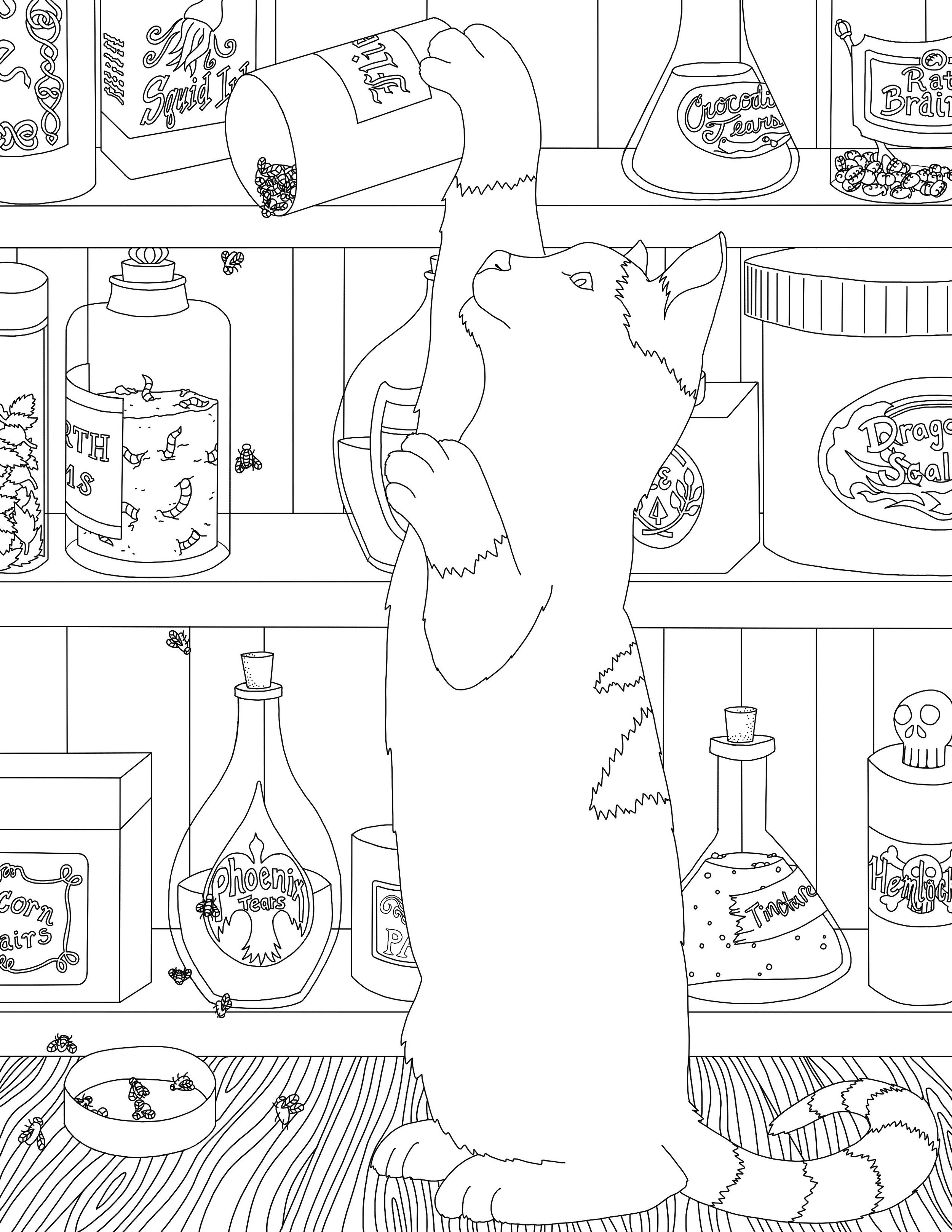 This frisky kitty is making a mess in the potions cabinet! Part of the  Magic Cats  coloring page set.