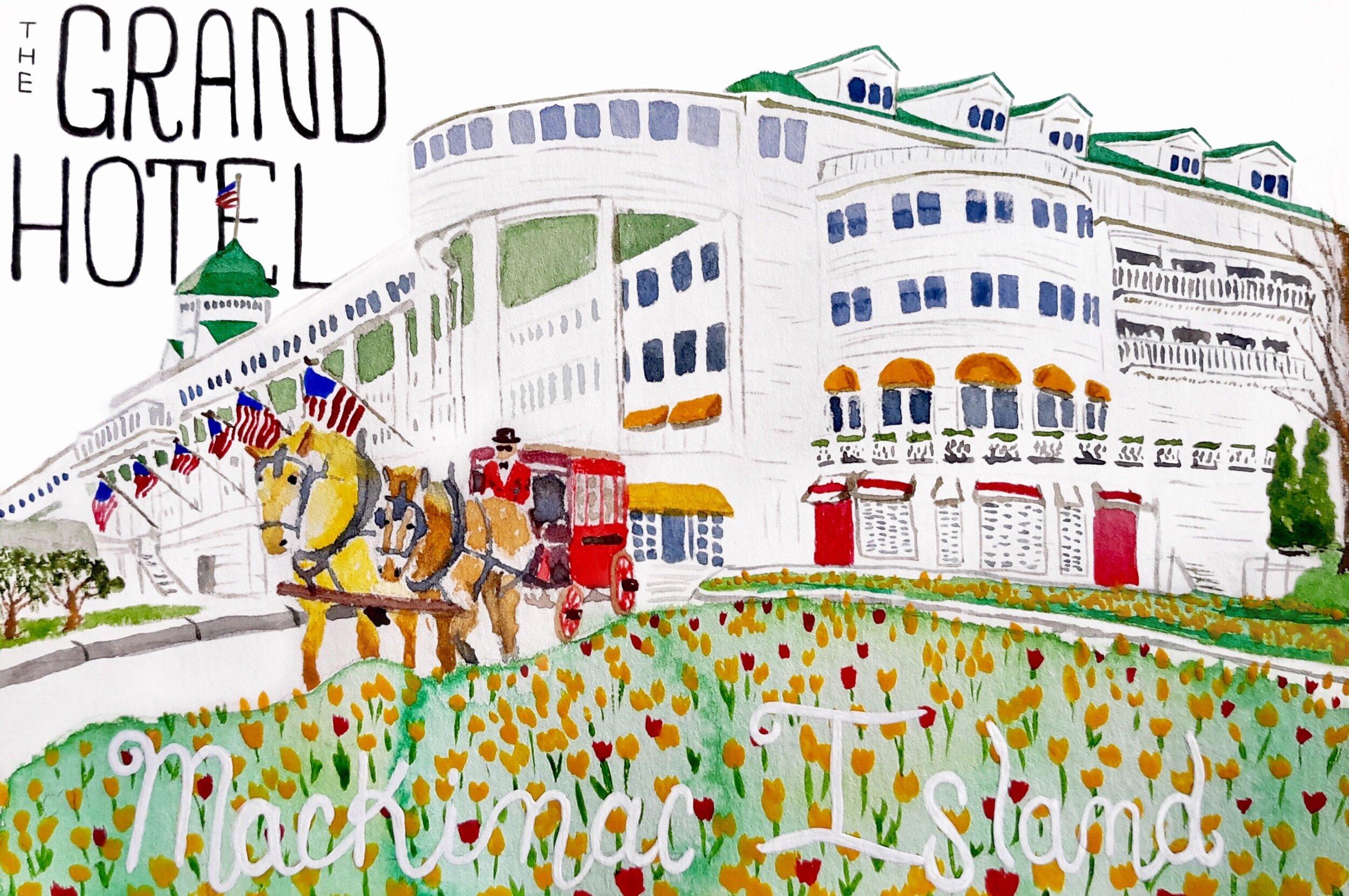 Grand Hotel watercolor
