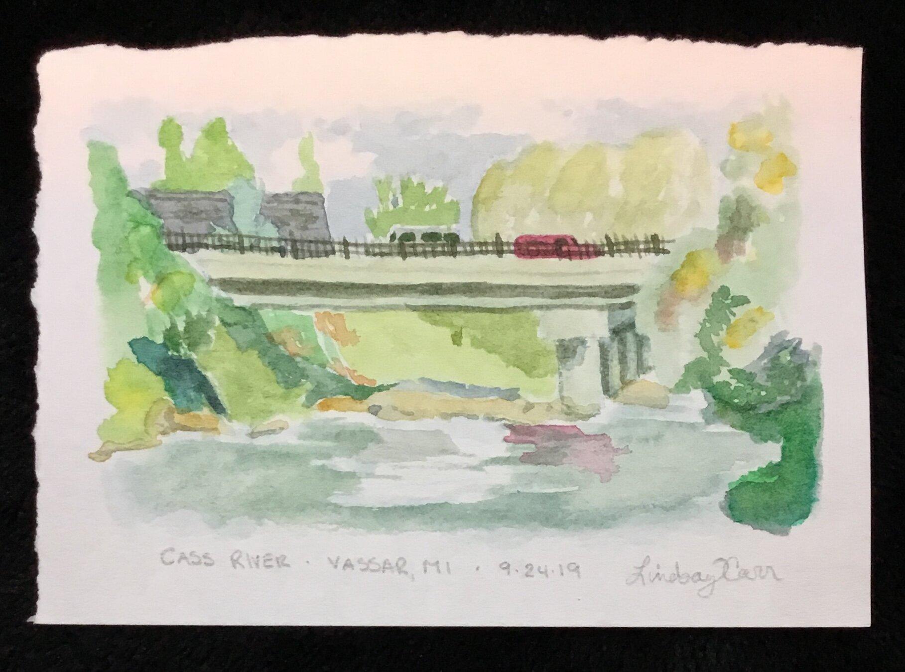 Vassar River watercolor sketch