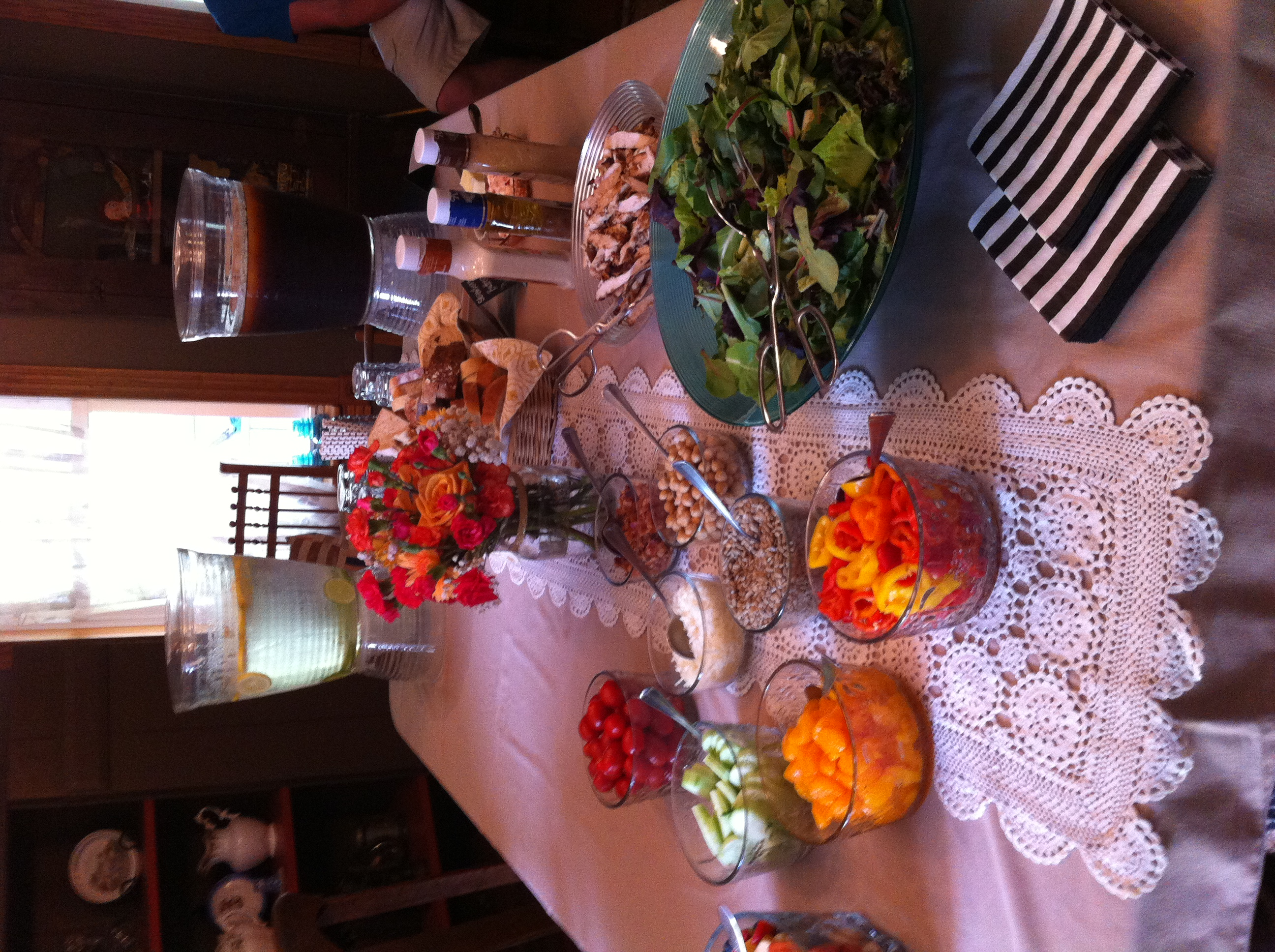 Birthday Party // Summer Picnic // Orange and Coral Flowers // Chalkboard Placemats //  Salad Bar // 5 O'Clock Design Co.