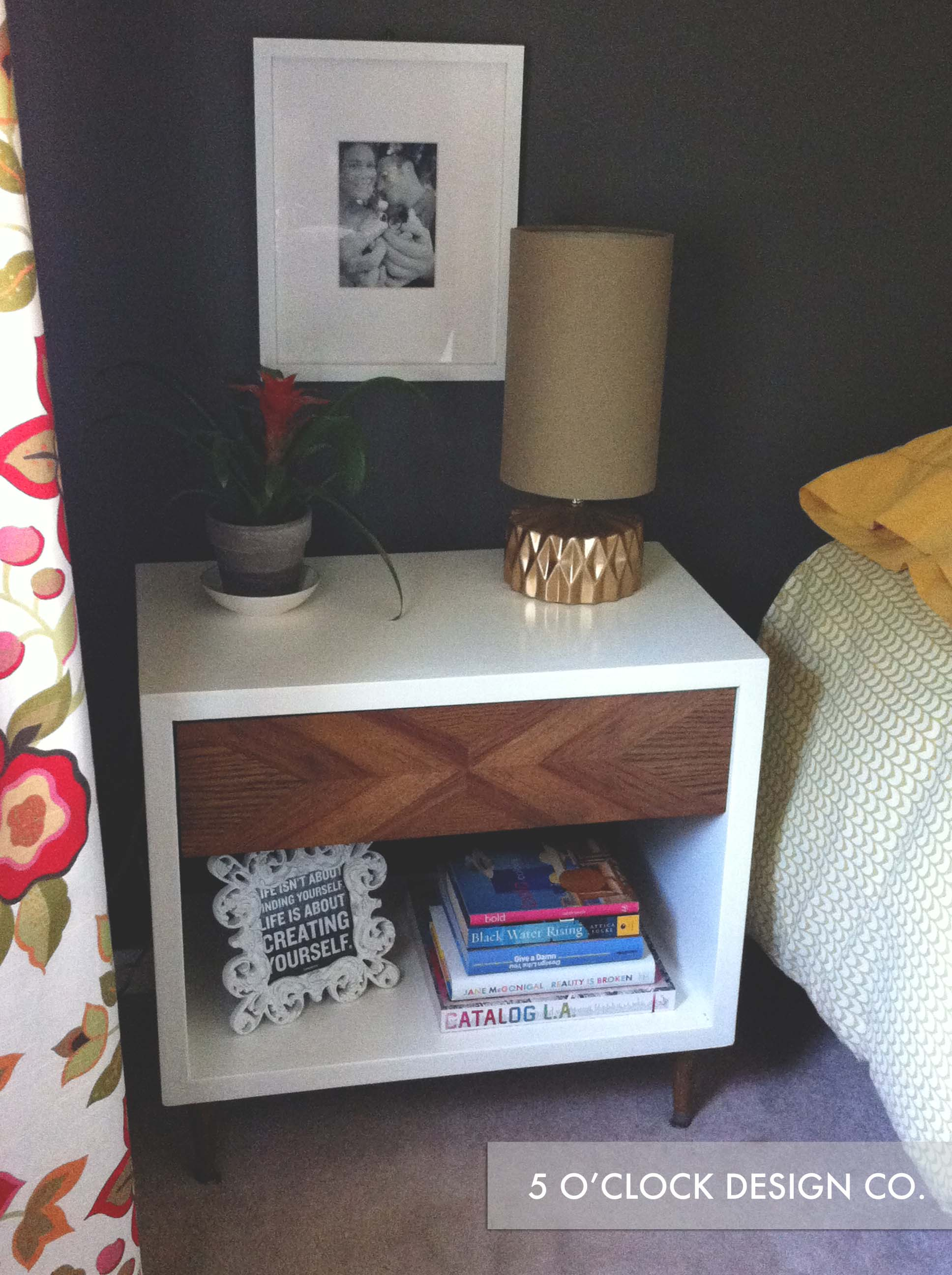 End Table Makeover // Night Stand // DIY // Mid Century // 5 O'Clock Design Co.