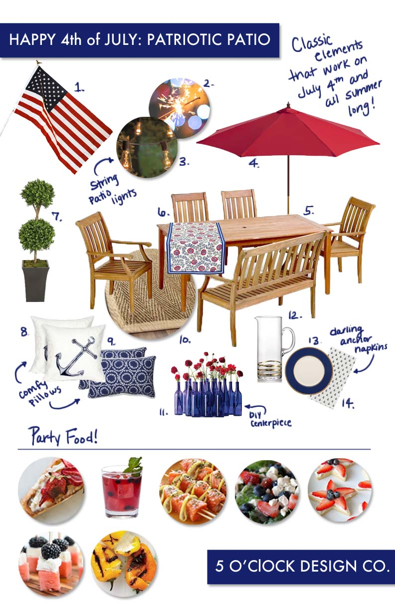 4th of July // patio party // patriotic // red white and blue // 5oclockdesign.com