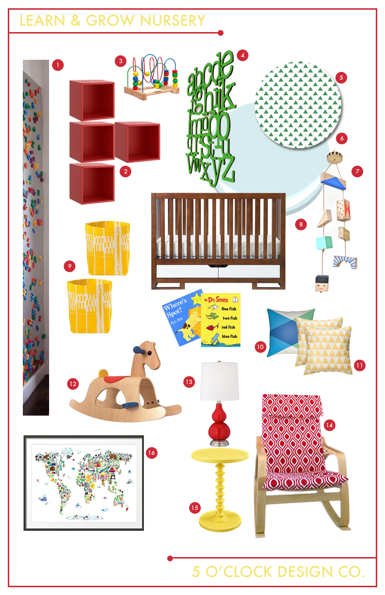 Nursery Design Board // bold, primary colors: red, blue, yellow and green // modern geometric shapes