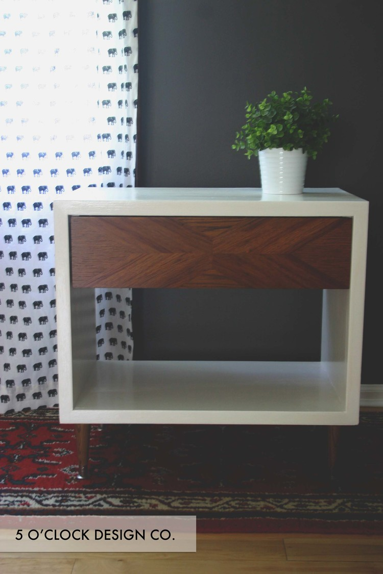 DIY Mid Century Modern End Table Makeover // Wood and White
