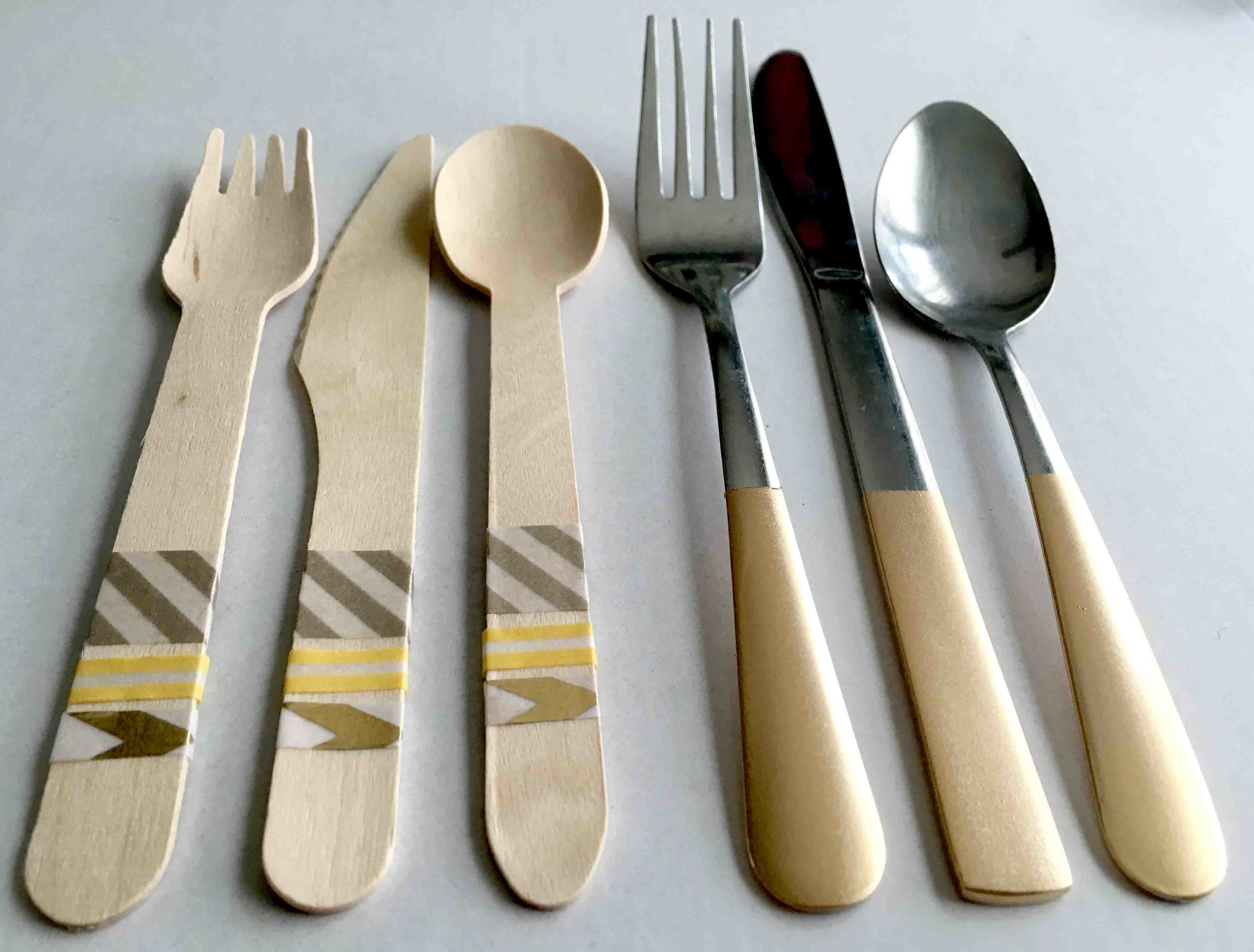 Gold Silverware // Wooden Silverware // Fall Dinner Party