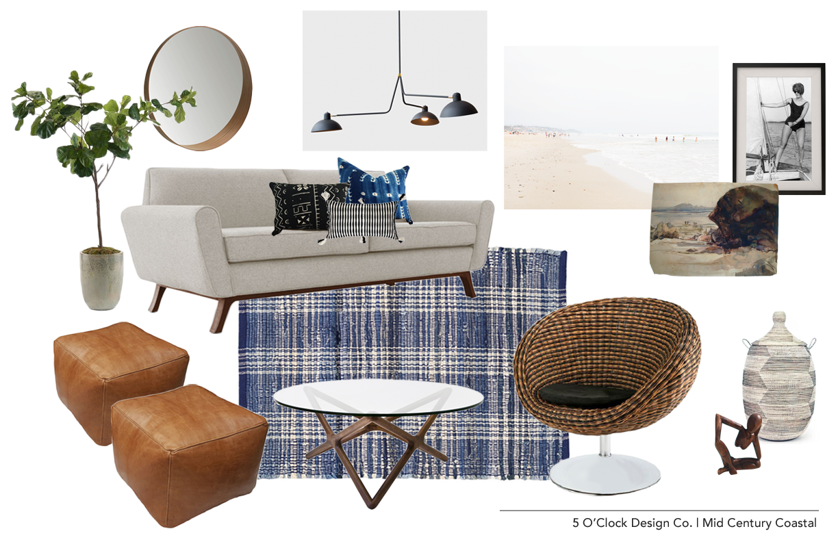 Mid Century Coastal Living Room // Rattan // Leather Pouf // Mud Cloth Pillows