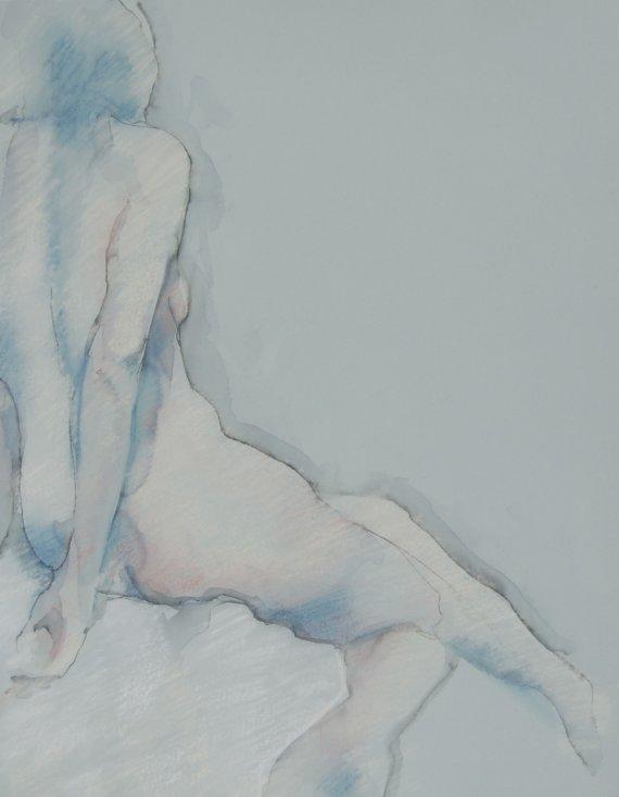 Female Drawing Print - Blue