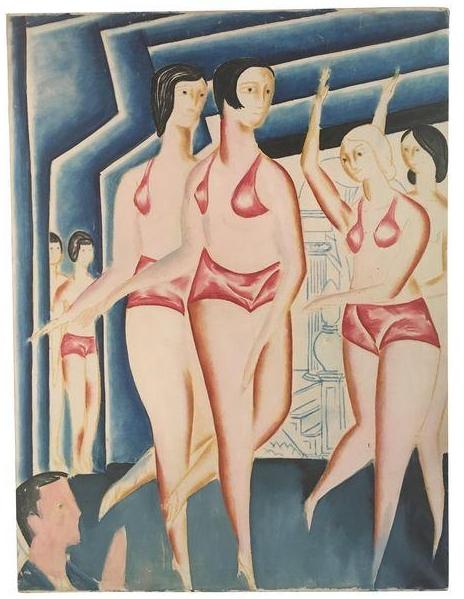Vintage Cabaret Boathouse Painting