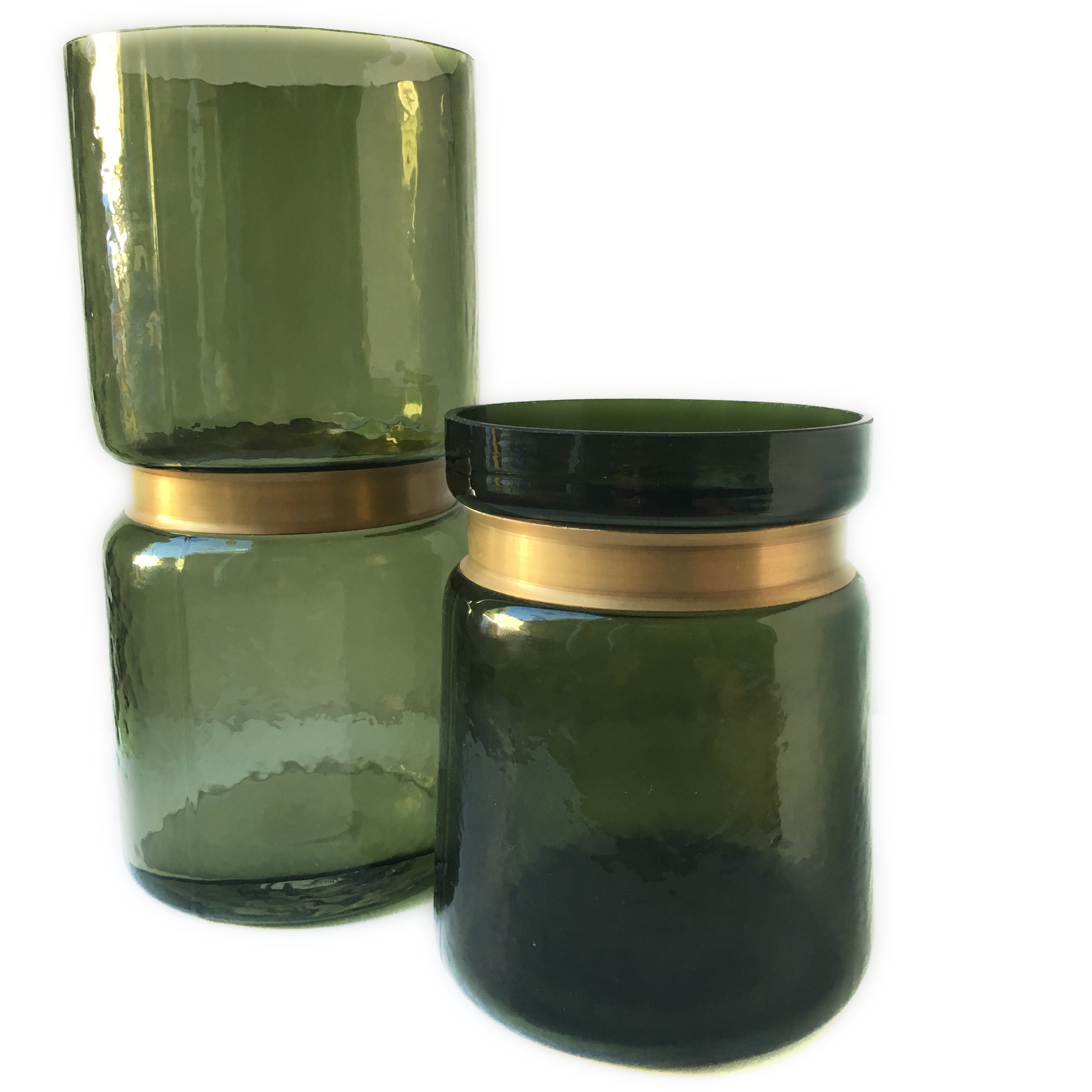 Green Glass Vases