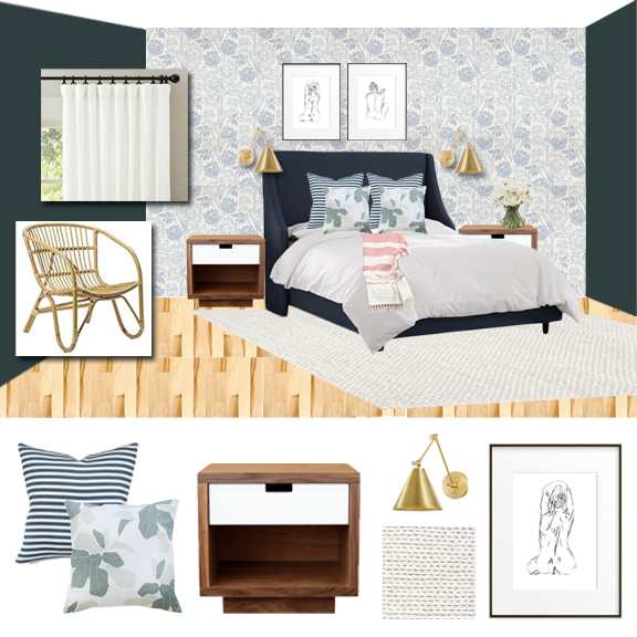 Master Bedroom | Coastal | Mid Century | Floral Wallpaper