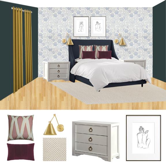 Master Bedroom | Traditional Modern | Glam Master Bedroom | Floral Wallpaper