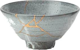 I learned about Kintsugi which is the Japanese art of fixing broken pottery (and also a pretty awesome Death Cab for Cutie album) with gold or silver to make the piece more beautiful and interesting.  As a philosophy it treats breakage and repair as part of the object rather than something to disguise.  It celebrates and highlights imperfections rather than looking at them as absent or damaged pieces. www.ptsdchick.com