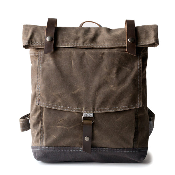 Waxed canvas backpack made by Moop.