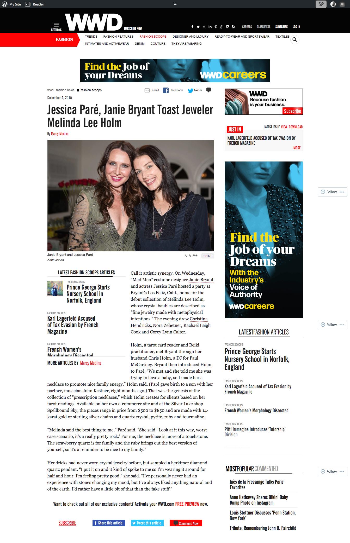 Jessica Paré, Janie Bryant Toast Jeweler Melinda Lee Holm   WWD.com December 4, 2015