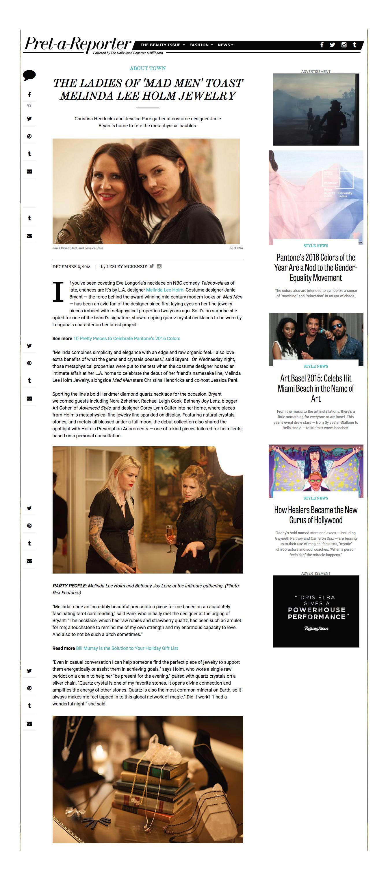 The Ladies of 'Mad Men' Toast Melinda Lee Holm Jewelry   HollywoodReporter.com December 3, 2015