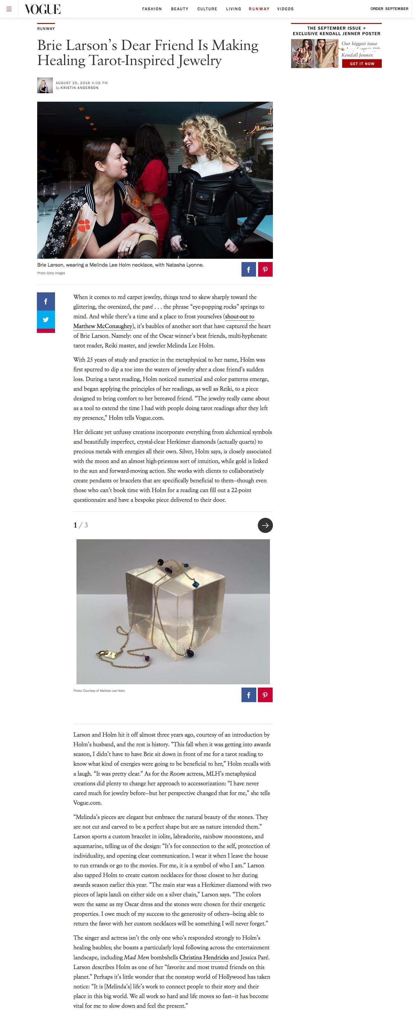 Brie Larson's Dear Friend Is Making Healing Tarot-Inspired Jewelry   Vogue August 25, 2016